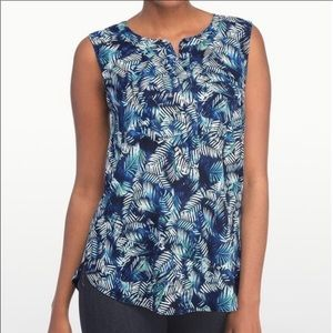 Tropical Palm Print NYDJ Tunic with Pleated Back